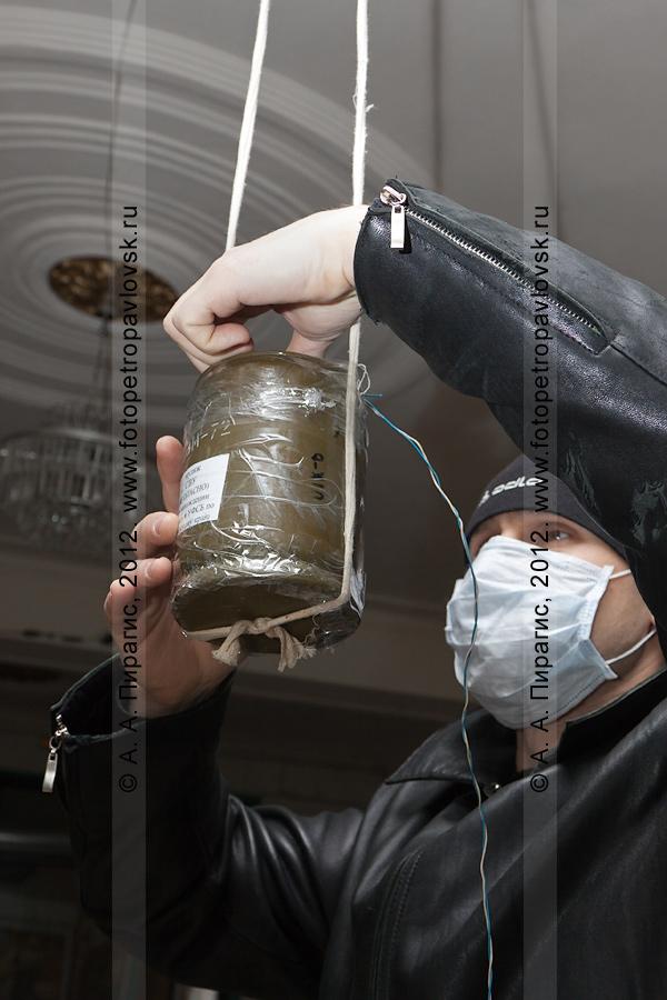 Фотография: террорист устанавливает взрывное устройство (бомбу) на избирательном участке. Антитеррористические учения по пресечению теракта на объекте массового пребывания людей. Камчатский край, город Петропавловск-Камчатский