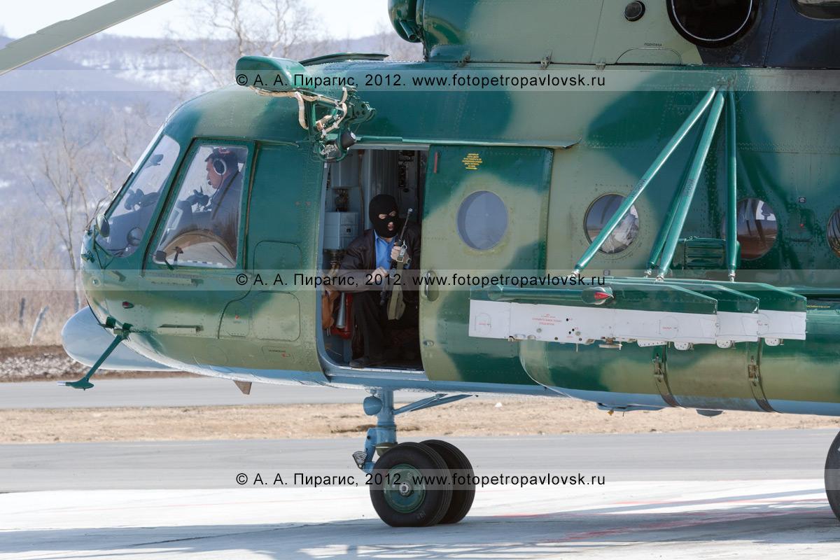 Фотография: террорист с автоматом ведет наблюдение за взлетной полосой из салона захваченного вертолета с экипажем на борту. Контртеррористические учения по пресечению теракта на объекте воздушного транспорта