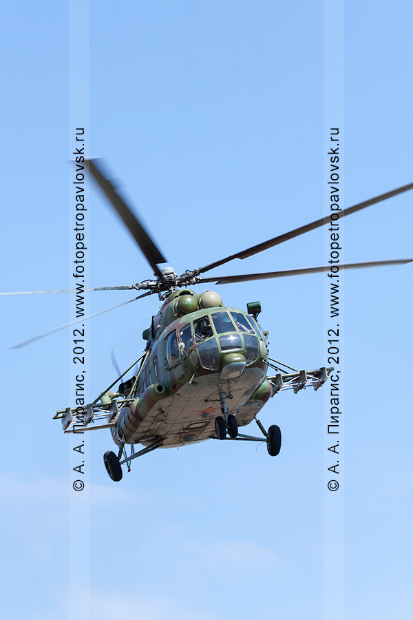 Фотография: вертолет МИ-8 — участвующий в контртеррористических учениях по пресечению теракта на объекте воздушного транспорта