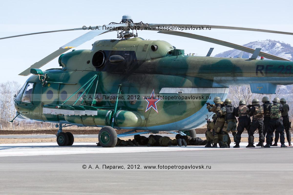 Фотография: бойцы спецназа освобождают экипаж вертолета МИ-8, который захватила группа вооруженных лиц под угрозой применения огнестрельного оружия. Контртеррористические учения по пресечению теракта на объекте воздушного транспорта