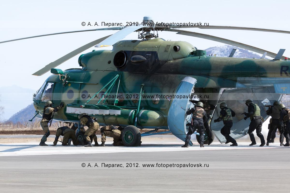 Фотография: спецназ штурмует вертолет МИ-8, который захватила группа террористов. Контртеррористические учения по пресечению теракта на объекте воздушного транспорта