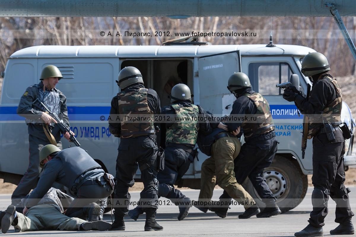 Фотография: бойцы спецподразделения запихивают террористов в полицейский автомобиль, прибывший к освобожденному спецназом вертолету. Контртеррористические учения по пресечению теракта на объекте воздушного транспорта