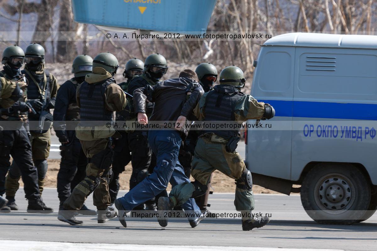 Фотография: бойцы спецназа конвоируют обезоруженного террориста. Контртеррористические учения по пресечению теракта на объекте воздушного транспорта