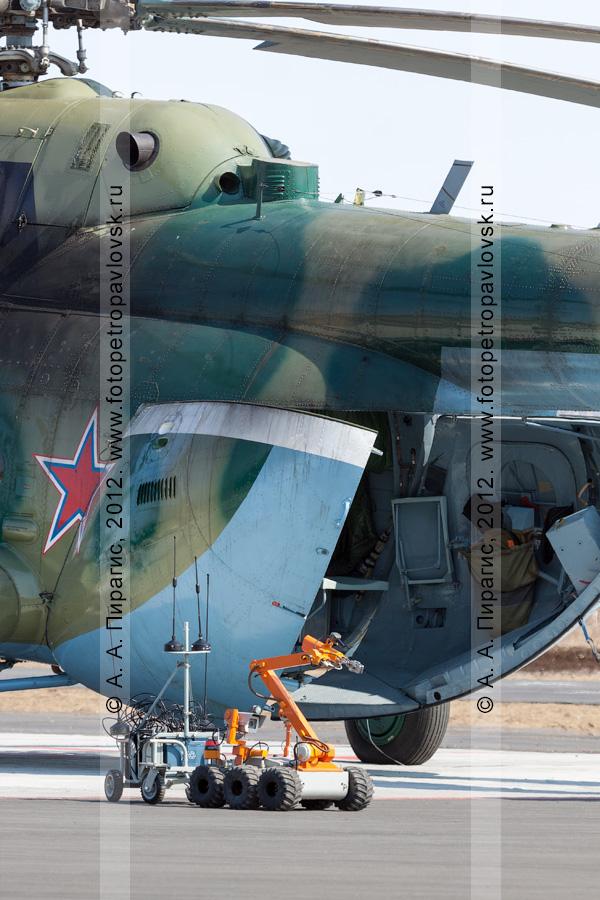 Фотография: робот-сапер работает возле заминированного вертолета. Контртеррористические учения по пресечению теракта на объекте воздушного транспорта