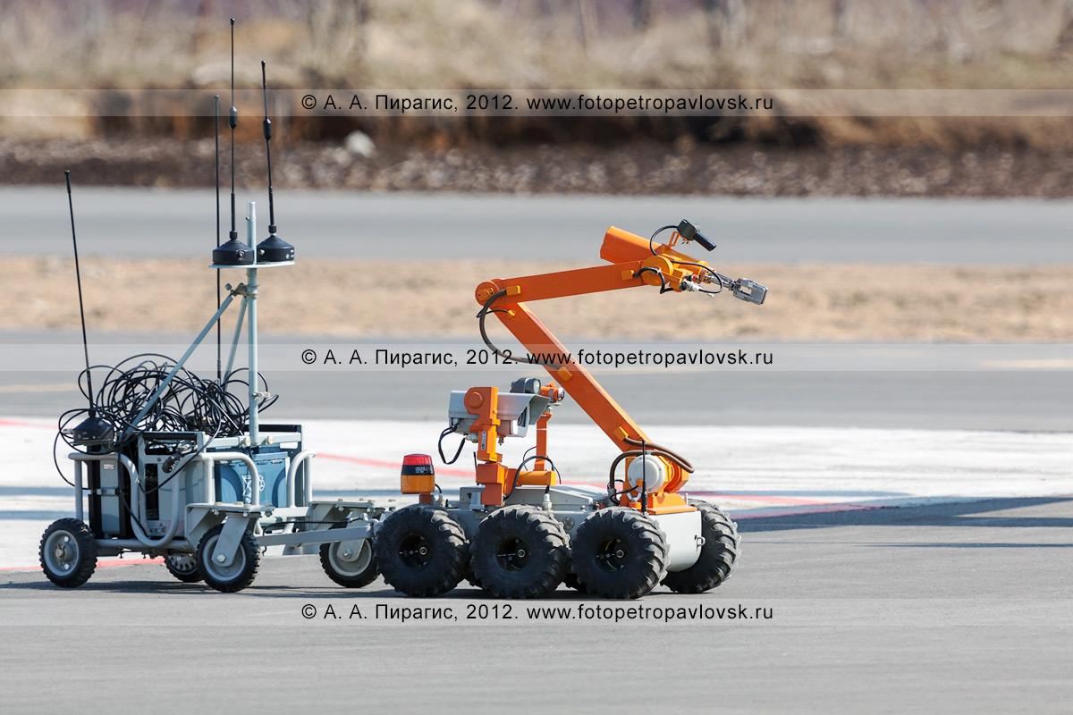 Фотография: робот-сапер буксирует тележку по взлетно-посадочной полосе аэропорта. Контртеррористические учения по пресечению теракта на объекте воздушного транспорта