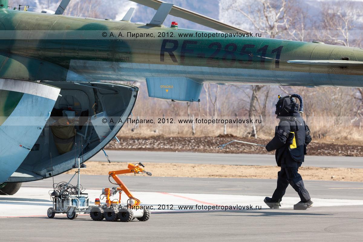 Фотография: специалист-подрывник в защитном бронированном костюме идет к заминированному вертолету, чтобы забрать взрывное устройство (бомбу). Контртеррористические учения по пресечению теракта на объекте воздушного транспорта
