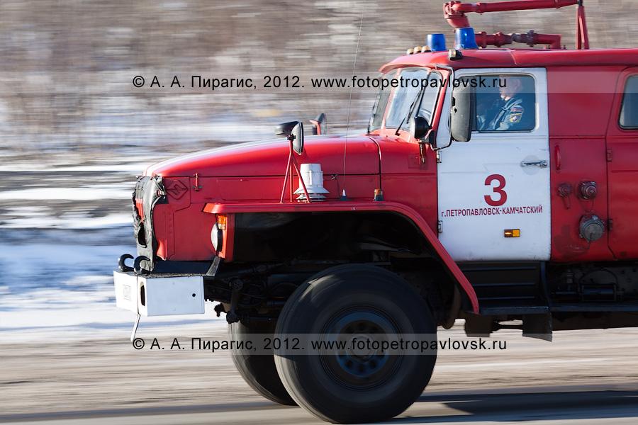 Фотография: пожарный автомобиль мчится по дороге. Камчатский край, город Петропавловск-Камчатский