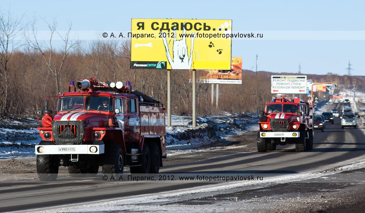 """Фотография: пожарные автомобили едут по Северо-Восточному шоссе города Петропавловска-Камчатского (микрорайон """"Северо-Восток"""")"""