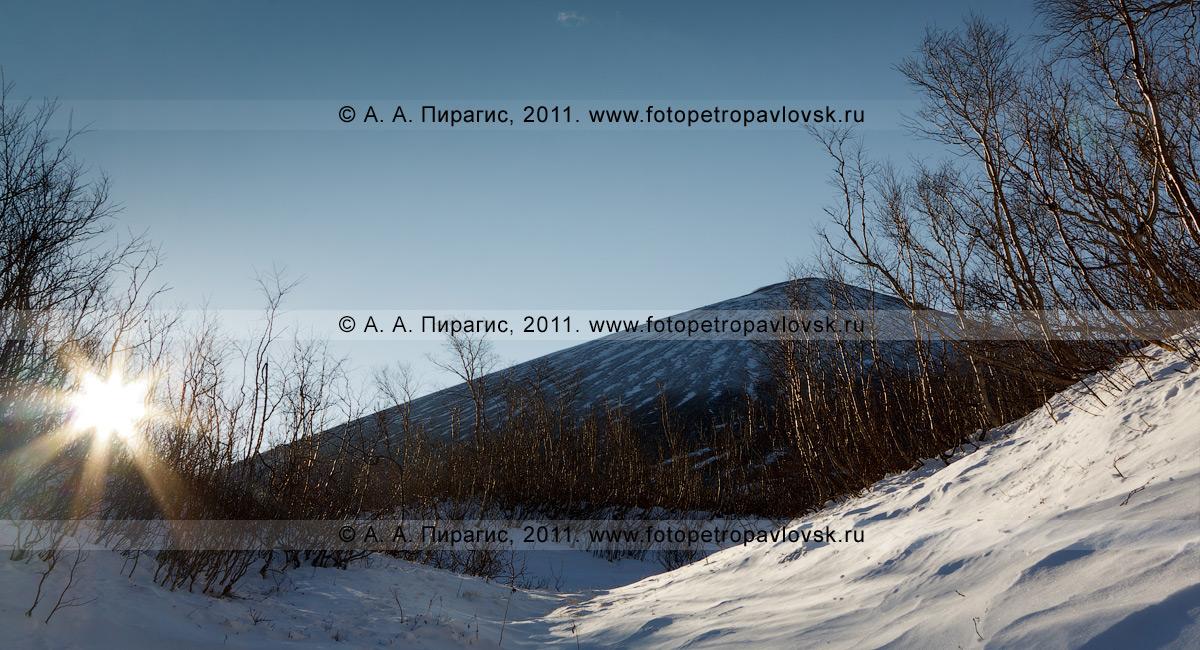Фотография: гора Бархатная (сопка Бархатная) на полуострове Камчатка. Камчатский пейзаж — фотография cопки Бархатной сделана ранним утром