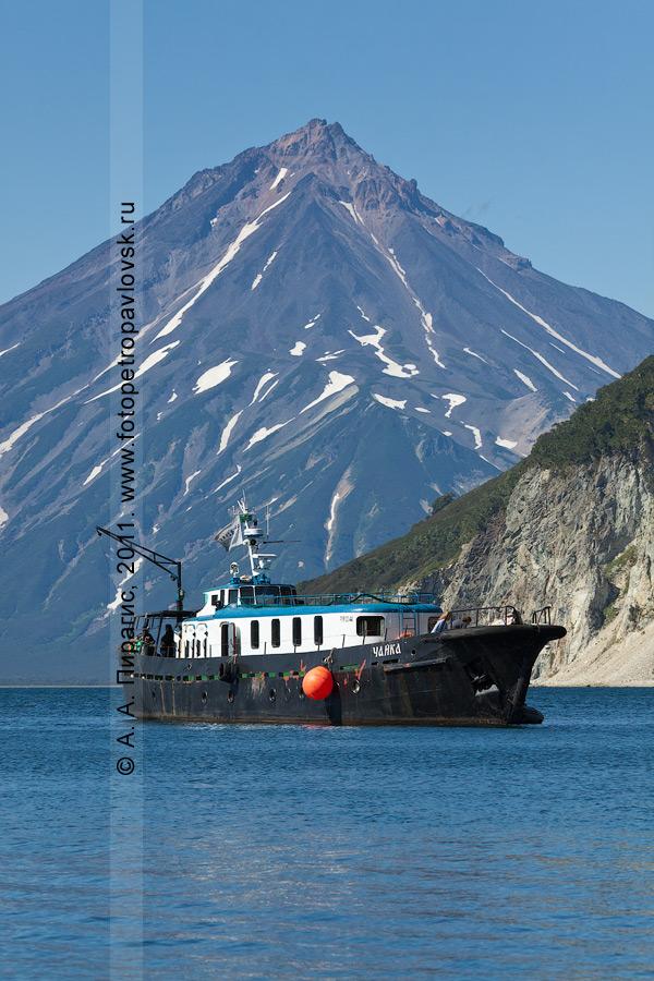 "Фотография: яхта ""Чайка"". Камчатка, Авачинский залив, бухта Вилючинская. На заднем плане: Вилючинский вулкан"