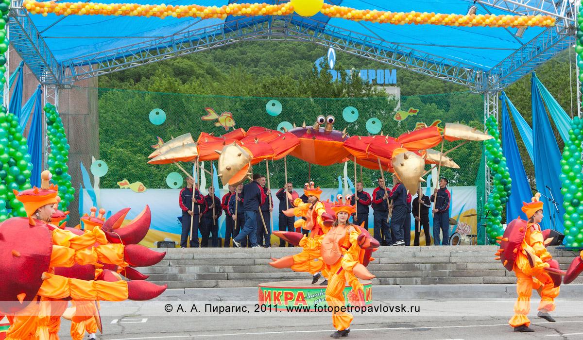 Фотография: на праздничной сцене — гигантский камчатский краб и танцующие маленькие камчатские крабы. Праздничный концерт в Петропавловске-Камчатском, посвященный Дню рыбака