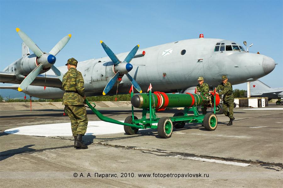 """Фотография: День авиации в Камчатском крае: унифицированная малогабаритная торпеда УМГТ-1 """"Орлан"""", на заднем плане — противолодочный самолет Ил-38"""