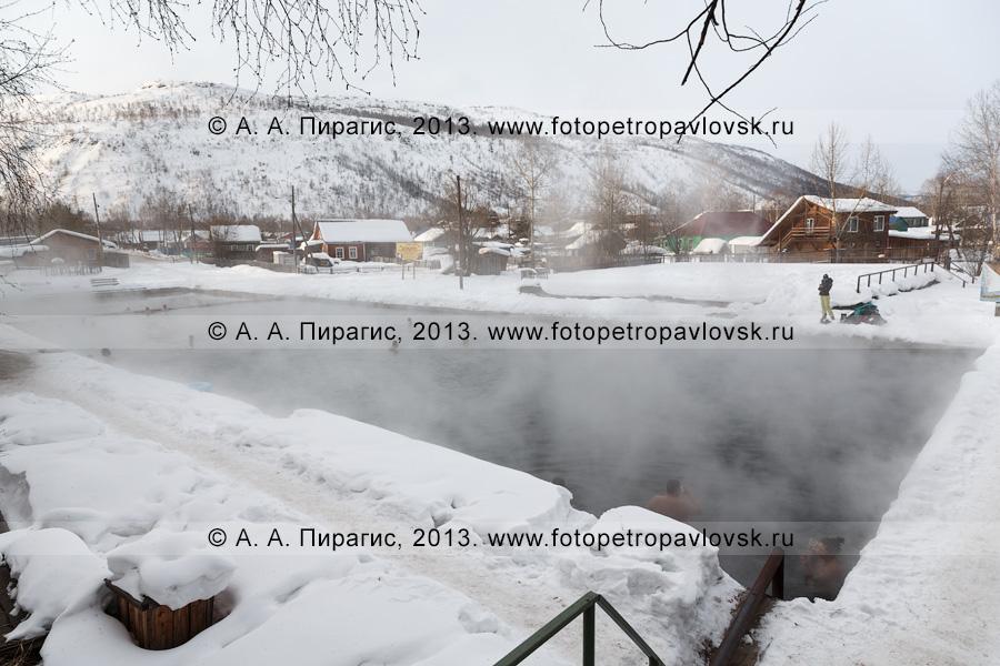 Фотография: вид на бассейн с термальной водой в центре села Эссо — административного центра Быстринского района Камчатского края