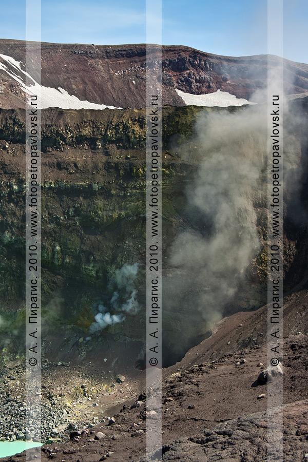 Фотография: выброс вулканического пепла из бокки (отверстия) в стенке активного кратера вулкана Горелого