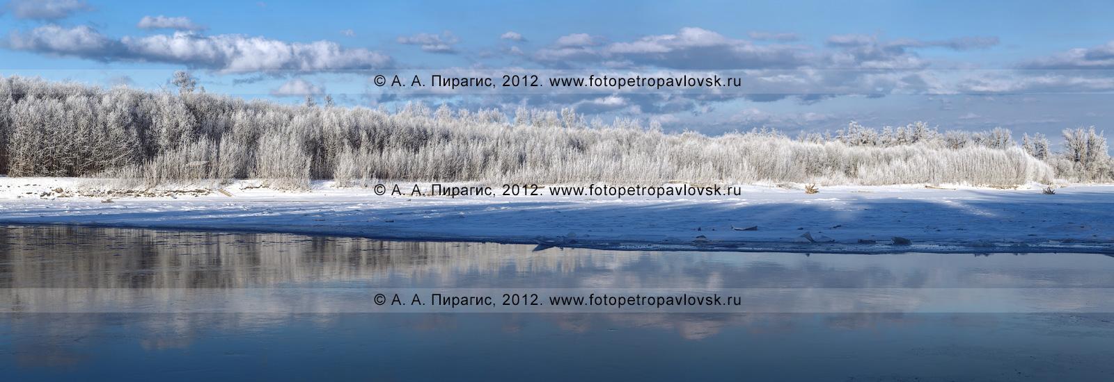 Фотография: живописный вид на реку Камчатку зимой