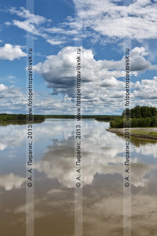Фотография: камчатский пейзаж — живописный летний вид на реку Камчатку (Уйкоаль) — крупнейшую водную артерию на Камчатке