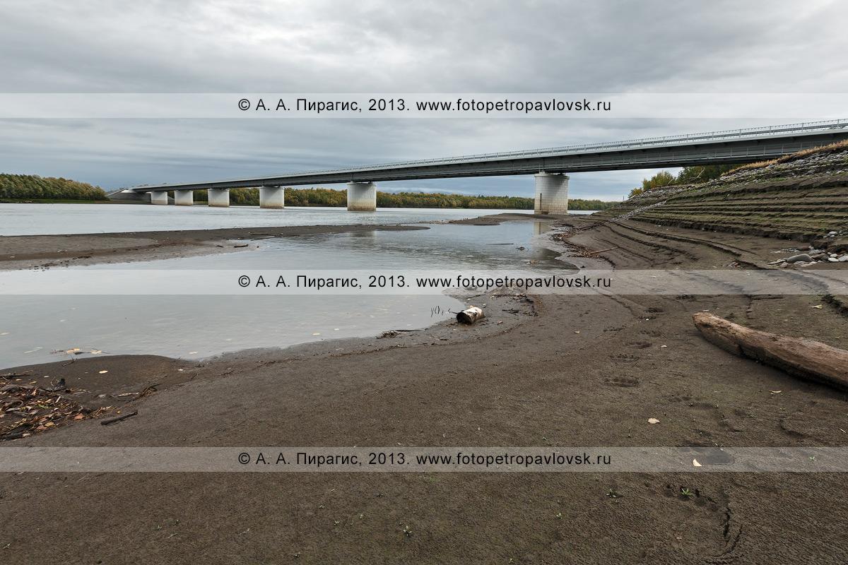 Фотография: вид на мост через реку Камчатку на 168-м километре автотрассы Мильково — Ключи — Усть-Камчатск. Справа на фотографии видны следы камчатского бурого медведя, который шел по берегу в районе моста через реку Камчатку