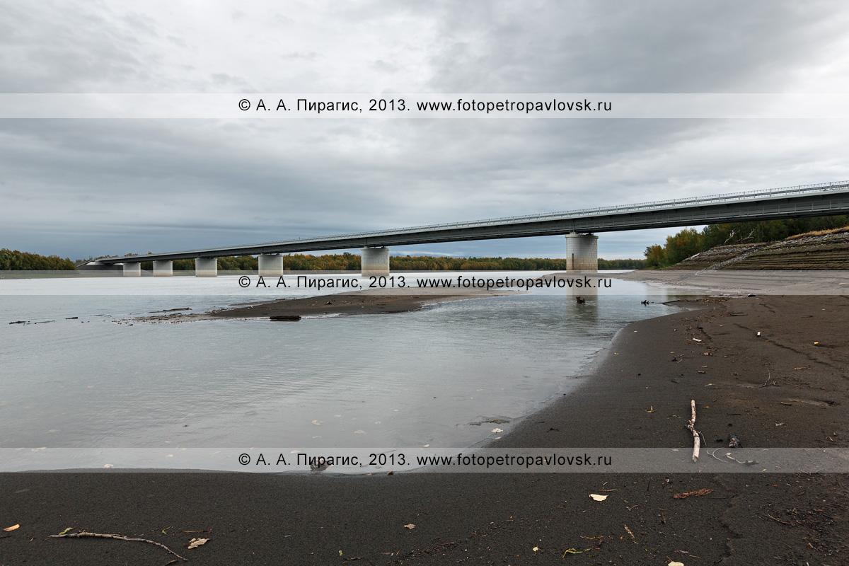Фотография: камчатский пейзаж — вид на мост через реку Камчатку на 168-м километре автотрассы Мильково — Ключи — Усть-Камчатск. Камчатский край
