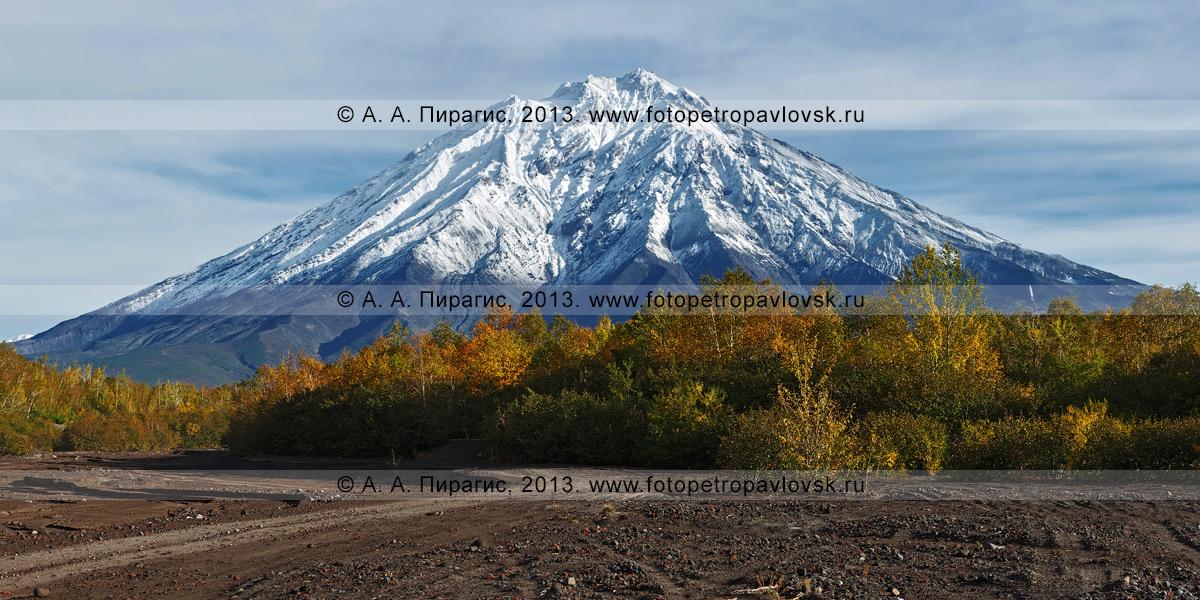 Фотография: осенний пейзаж Камчатки — Корякский вулкан, или Корякская сопка, — действующий камчатский стратовулкан