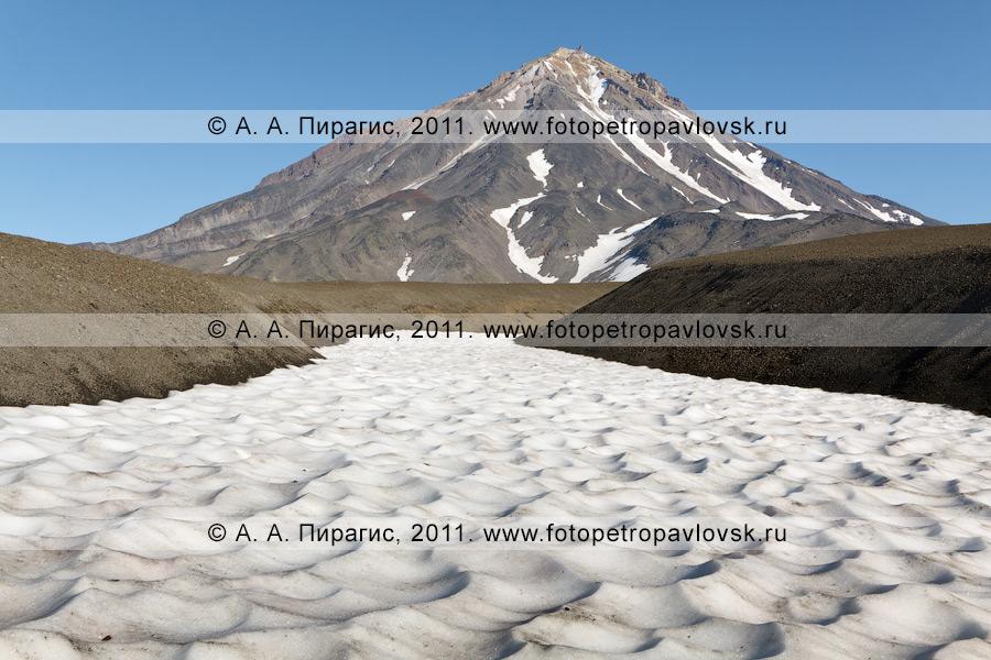 Фотография: камчатский пейзаж — Корякский вулкан (Корякская сопка). Вид на Корякский вулкан и снежник у подножия вулкана
