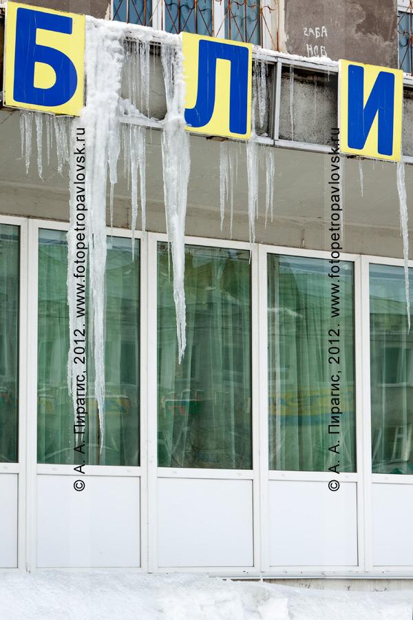Фотография: сосульки на вывеске библиотеки-филиала № 1 города Петропавловска-Камчатского