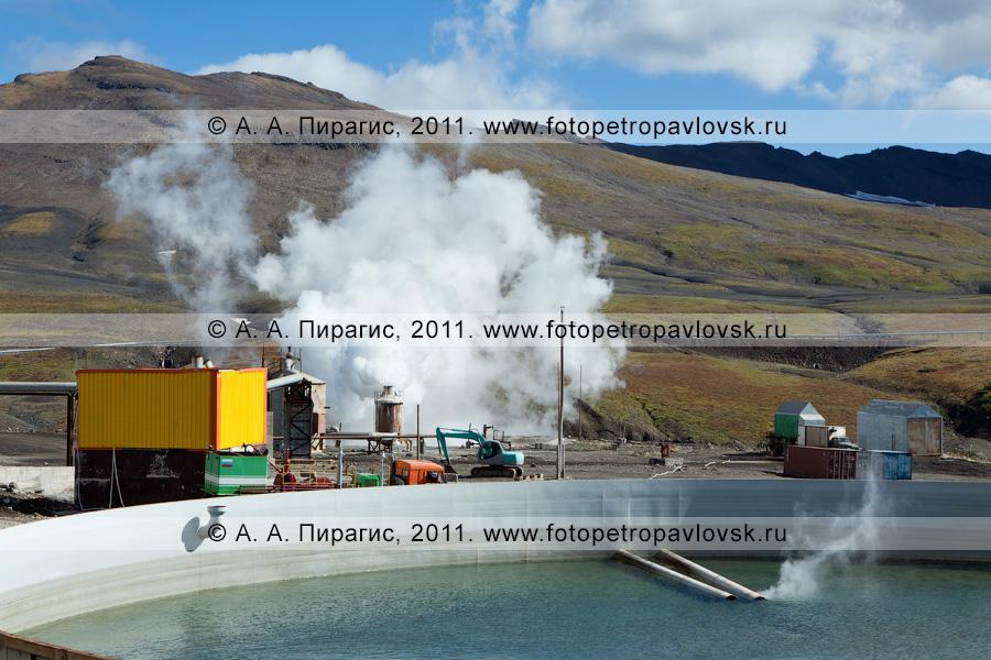 Фотография: бассейн для сбора отработанной термальной воды. Мутновская геотермальная электростанция (Мутновская ГеоЭС). Камчатский край