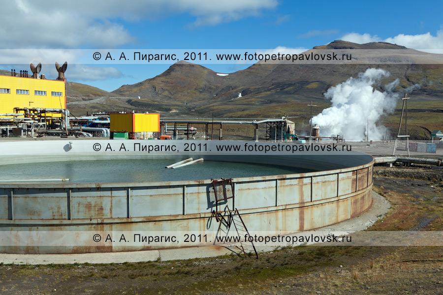 Фотография: бассейн для сбора отработанной термальной воды. Мутновская ГеоЭС на Камчатке