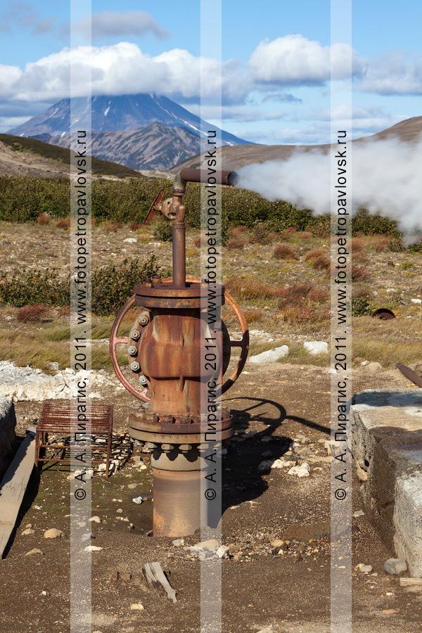 Фотография: выброс термальной воды и пара из скважины. Мутновское геотермальное месторождение на Камчатке