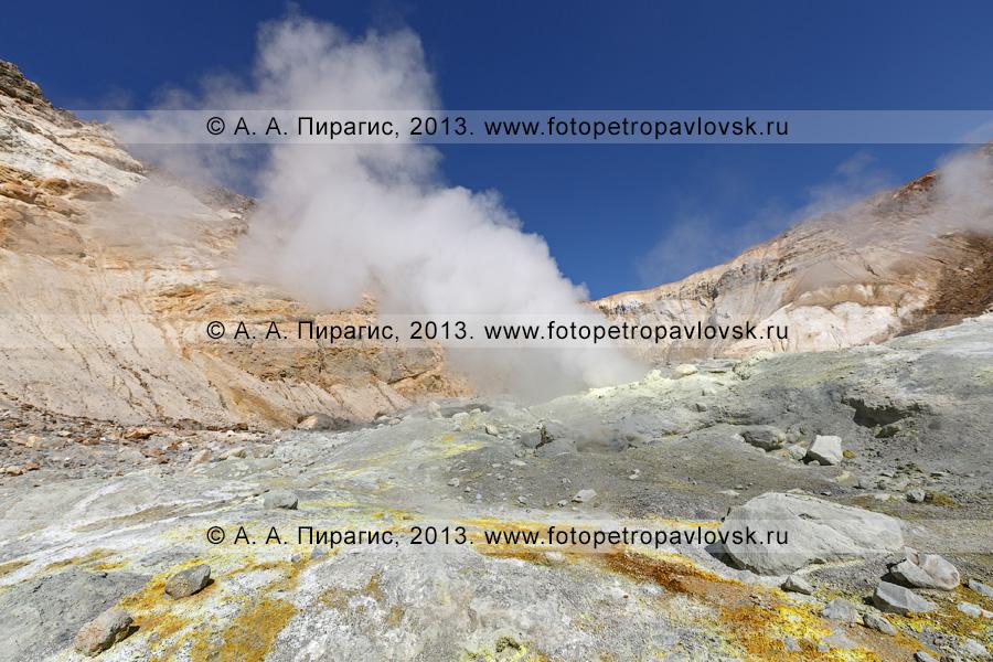 Фотография: кратер Мутновского вулкана (Mutnovsky Volcano) на Камчатке, мощные выходы сернистого газа на фумарольном поле