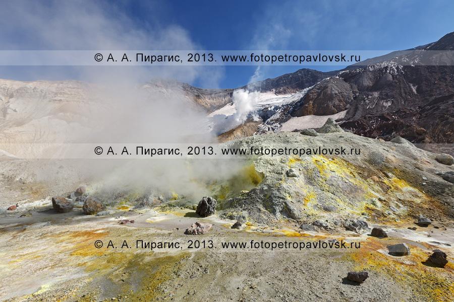 Фотография: кратер Мутновского вулкана (Mutnovsky Volcano) на Камчатке, фумарольное поле с выходами серы и сернистого газа