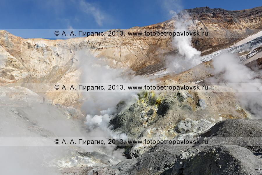 Фотография: Мутновский вулкан (Mutnovsky Volcano), работа фумарол в кратере вулкана. Полуостров Камчатка