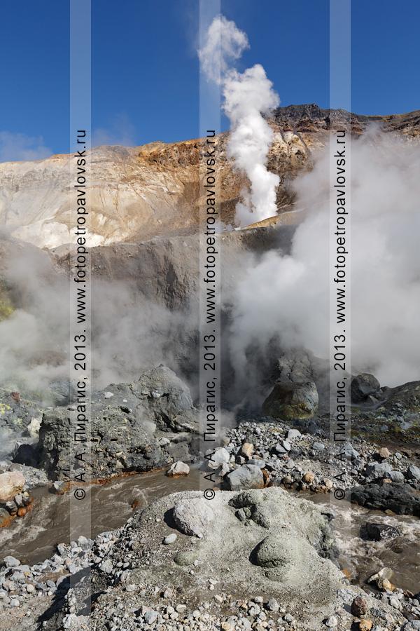 Фотография: камчатский пейзаж — вид на реку Вулканную в кратере Мутновского вулкана (Mutnovsky Volcano) и работающие фумаролы, выбросы пара и газа