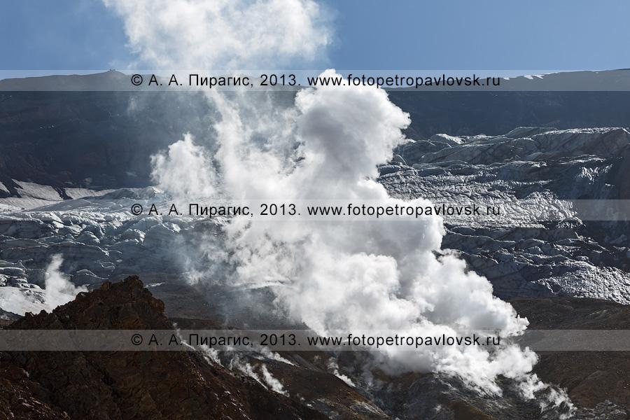 Фотография: фумаролы в кратере вулкана Мутновская сопка (Mutnovsky Volcano) на Камчатке
