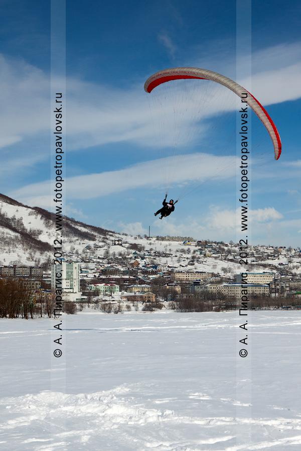 Фотография: полет на параплане над замерзшим Култучным озером в центре города Петропавловска-Камчатского. Чемпионат Камчатского края по парапланерному спорту