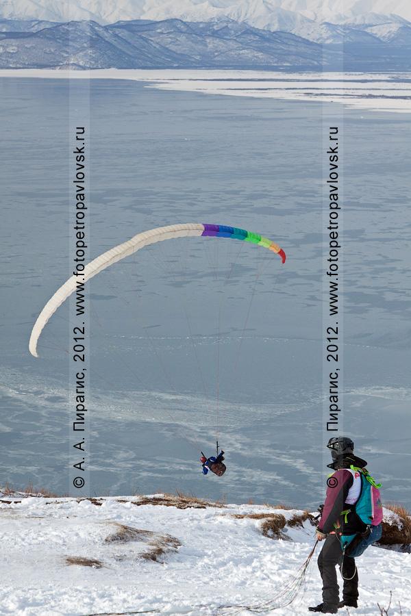 Фотография: старт камчатского парапланериста на чемпионате Камчатского края по парапланерному спорту