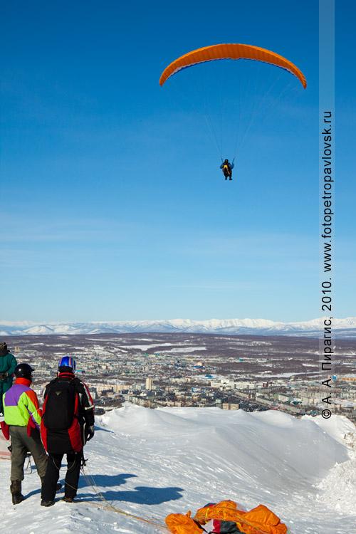 Фотография: полет параплана над Петропавловском