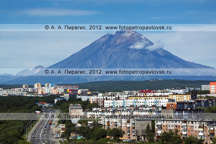 Фотография: камчатский пейзаж — город Петропавловск-Камчатский на фоне Корякского вулкана