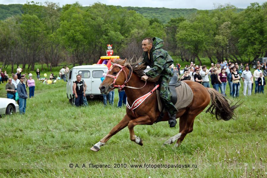 Фотография: Сабантуй на Камчатке. Традиционное национальное состязание — скачки на лошадях