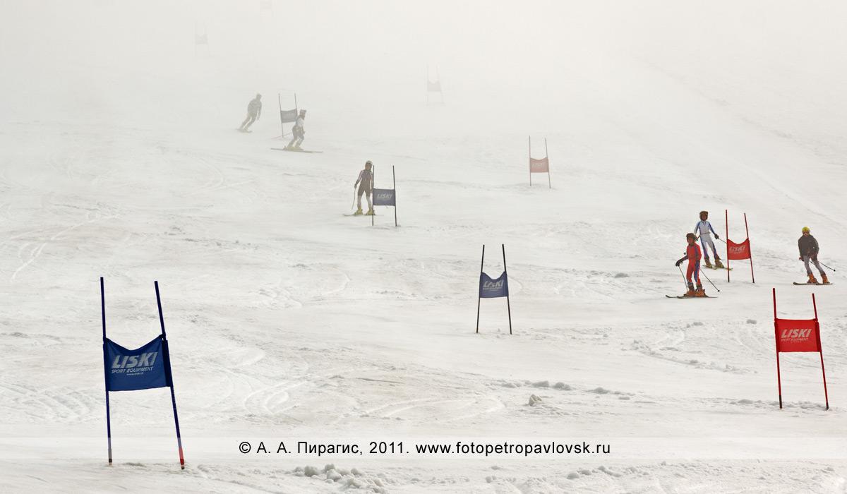 Фотография: камчатские спортсмены-горнолыжники на трассе, окутанной туманом, который внезапно накрыл Авачинский вулкан