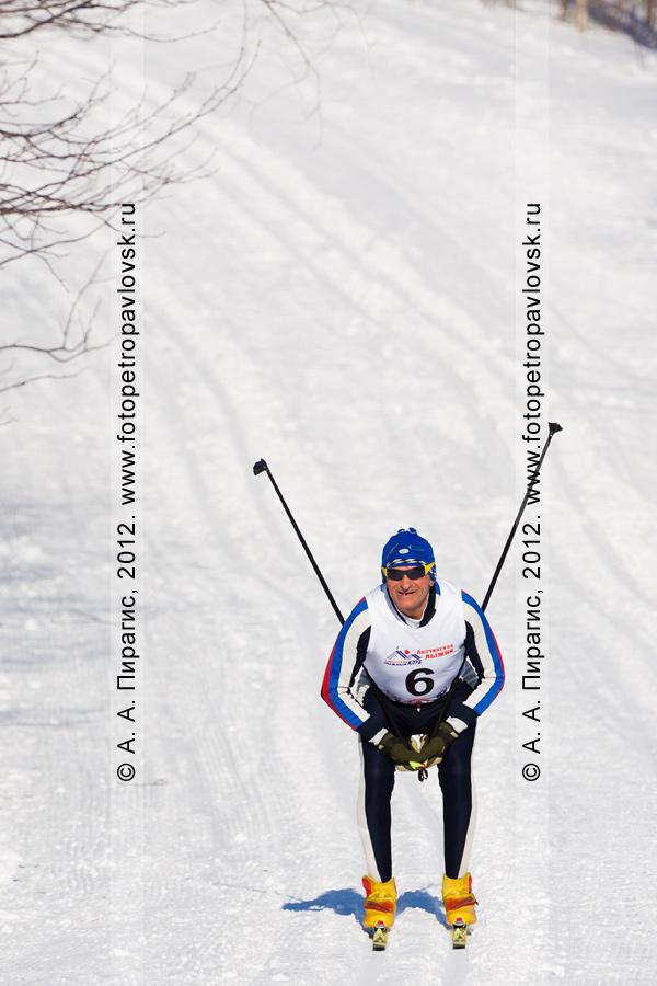 """Фотография: камчатский спортсмен-лыжник спускается с горы. Соревнования по лыжным гонкам (классический стиль), посвященные памяти В.А.Кочкина. Лыжная база """"Лесная"""". Камчатка, город Петропавловск-Камчатский"""