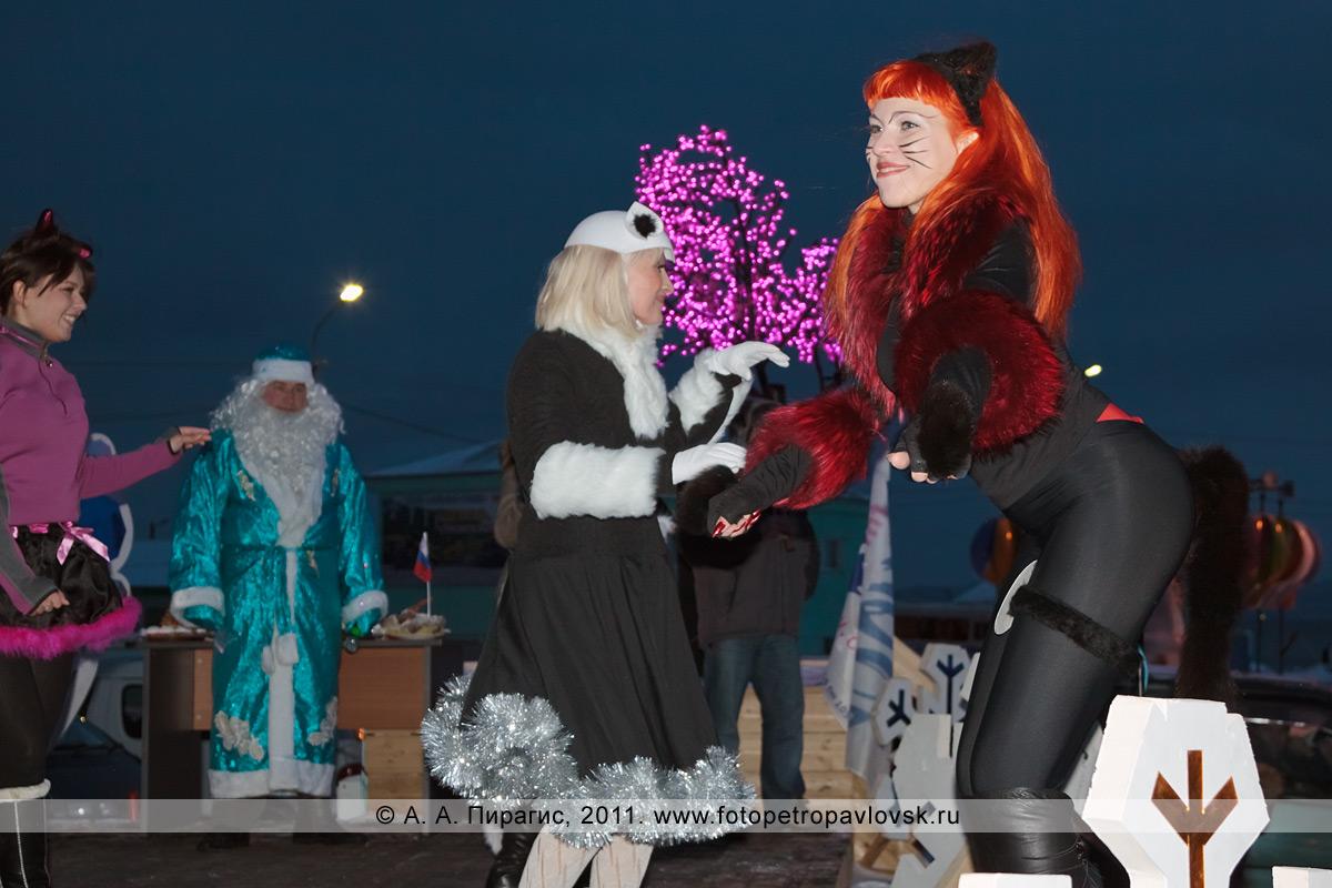 """Фотография: снегурочки исполняют """"пушистые танцы"""". Конкурс """"Забег снегурочек"""" от камчатской радиостанции """"Радио СВ"""""""