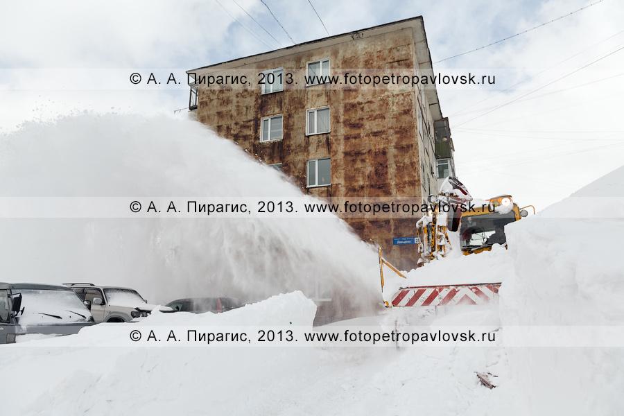 Фотография: расчистка межквартальных проездов — ликвидация последствий снежного циклона в Петропавловске-Камчатском