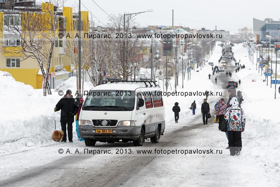 Фотография: последствие снежного циклона. Автобусное сообщение закрыто, маршрутное такси подбирает пешеходов по дороге на проспекте 50 лет Октября в Петропавловске-Камчатском