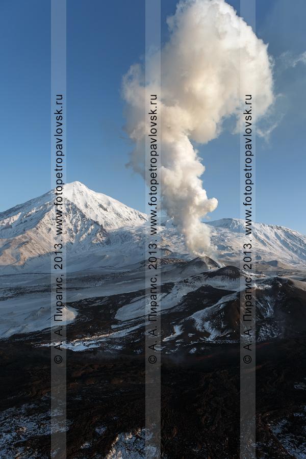 Фотография: эксплозивно-эффузивное извержение вулкана Плоский Толбачик на Камчатке