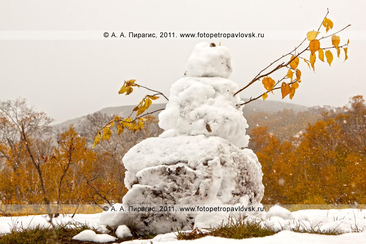 Фотография: снеговик в районе горного массива Вачкажец. Южно-Быстринский хребет, полуостров Камчатка