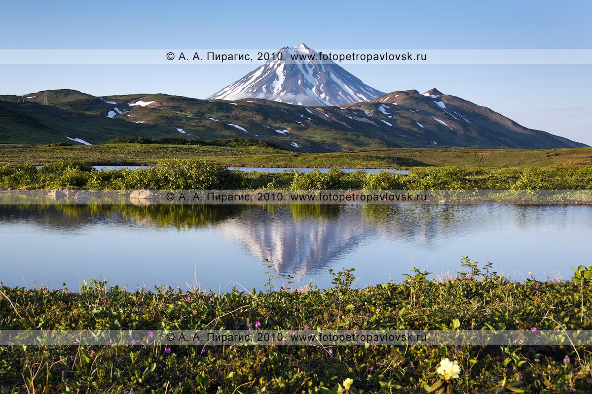 Фотография: Вилючинский вулкан(Vilyuchinsky Volcano) на закате, вид на потухший вулкан Камчатки с юго-запада