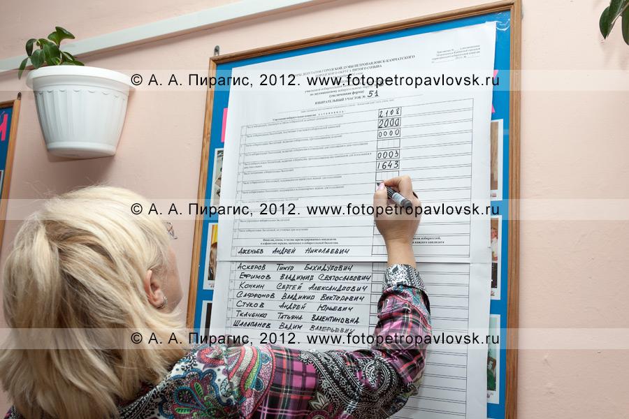 Фотография: сотрудник участковой избирательной комиссии избирательного участка № 51 вносит данные в протокол участковой избирательной комиссии об итогах голосования