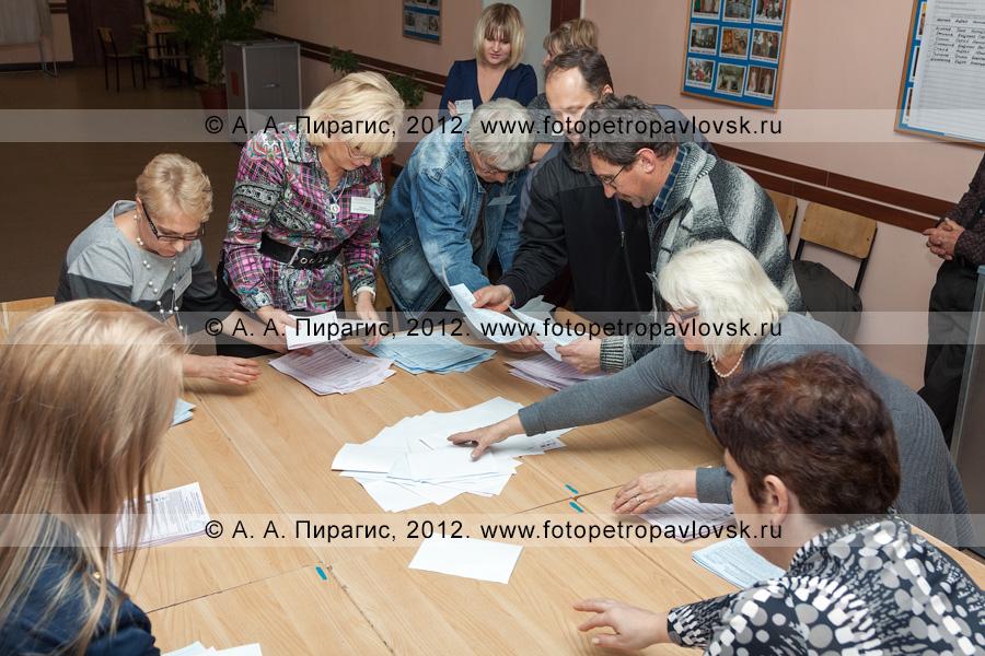 Фотография: подсчет голосов на выборах — сотрудники участковой избирательной комиссии избирательного участка № 51 подсчитывают избирательные бюллетени