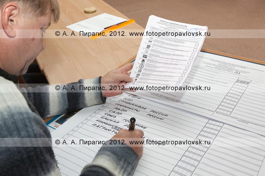 Фотография: секретарь участковой избирательной комиссии избирательного участка № 51 заполняет протокол участковой избирательной комиссии об итогах голосования. Единый день голосования 14 октября 2012 года