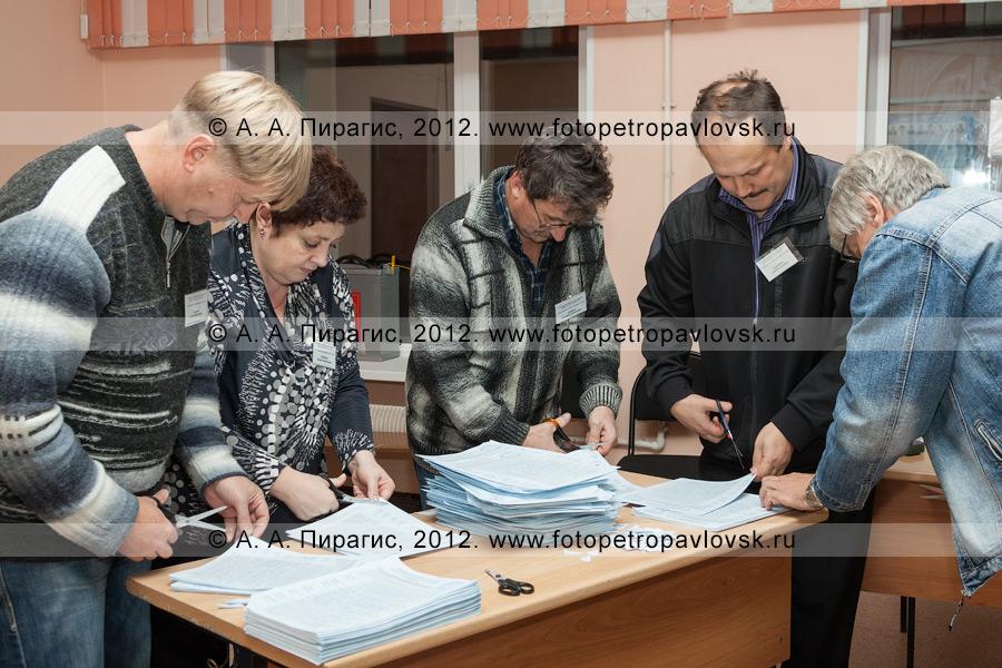 Фотография: сотрудники участковой избирательной комиссии избирательного участка № 51 выполняют процедуру гашения неиспользованных на выборах избирательных бюллетеней после завершения голосования и закрытия избирательного участка